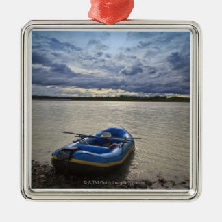 Rafting on Talkeetna River, Alaska Silver-Colored Square Decoration