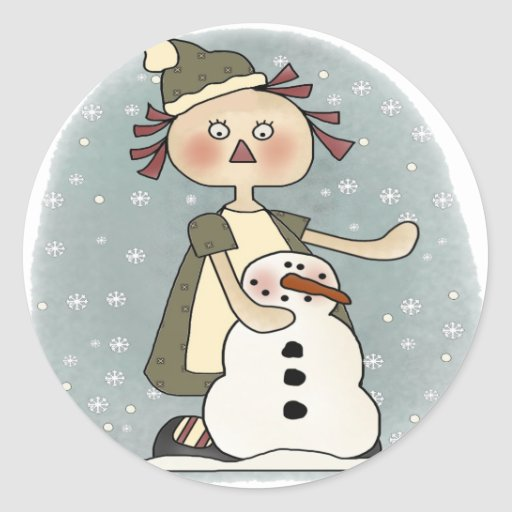 Rag Doll and Snowman Round Sticker