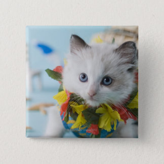 Rag Doll Kitten and Summer Vacation 15 Cm Square Badge