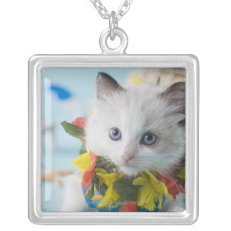 Rag Doll Kitten and Summer Vacation Silver Plated Necklace