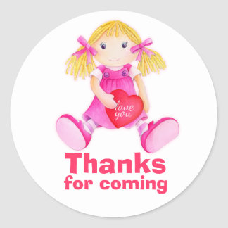 Rag doll thank you party sticker