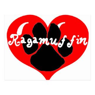 ragamuffin paw heart postcard