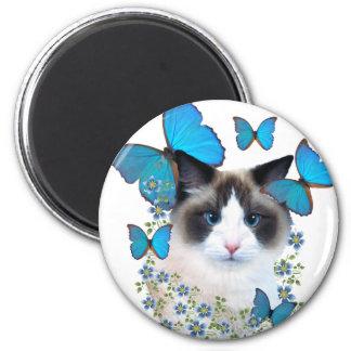 Ragdoll And Blue Butterflies 6 Cm Round Magnet