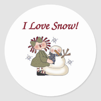 Ragdoll and Snowman Classic Round Sticker