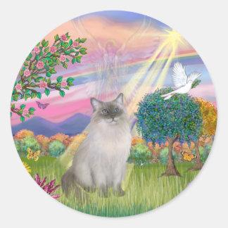 Ragdoll Cat (Blue Point) - Cloud Angel Round Sticker
