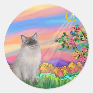 Ragdoll Cat (Blue Point) - Day Star Round Sticker