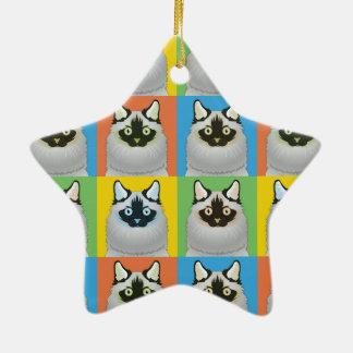 Ragdoll Cat Cartoon Pop-Art (Seal-Point) Christmas Ornament