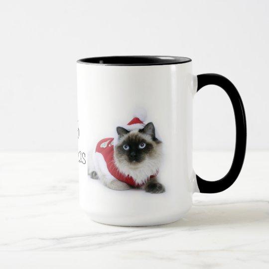 Ragdoll cat Christmas mug