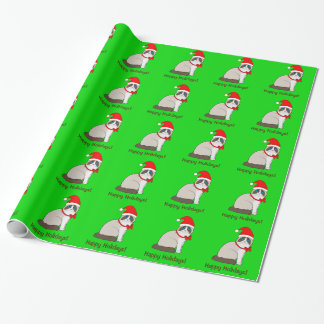 Ragdoll Cat Dressed in Santa Hat Happy Holidays! Wrapping Paper