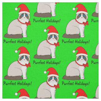 Ragdoll Cat with Santa Hat Purrfect Holidays! Fabric