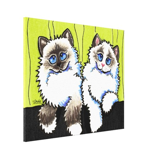 Ragdoll Cats Pair of Dolls Off-Leash Art™ Stretched Canvas Prints