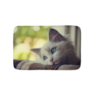Ragdoll Kitten Looking Out The Window Bath Mat