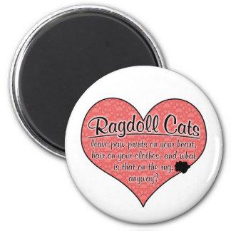 Ragdoll Paw Prints Cat Humor 6 Cm Round Magnet