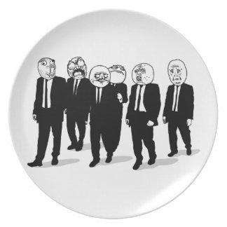 Rage Comic Meme Faces Walking. Me Gusta. Dinner Plates