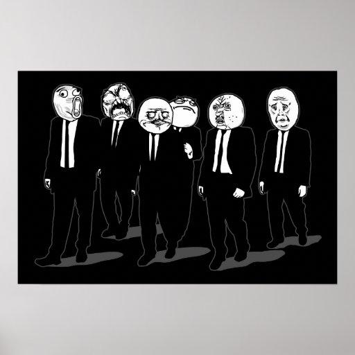 Rage Comic Meme Faces Walking. Me Gusta. Poster