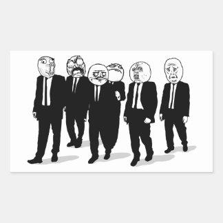 Rage Comic Meme Faces Walking. Me Gusta. Rectangular Sticker