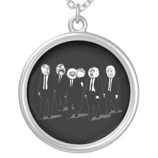 Rage Comic Meme Faces Walking. Me Gusta. Silver Plated Necklace