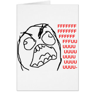 Rage Guy Angry Fuu Fuuu Rage Face Meme Greeting Card
