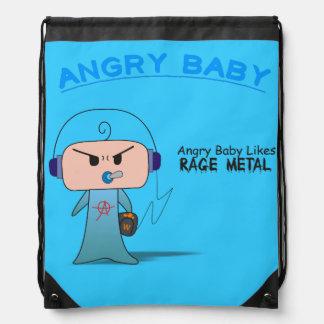 """""""Rage Metal"""" Stringbag - An Angry Baby Design Drawstring Bag"""