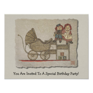 Raggedy Doll & Baby Buggy 11 Cm X 14 Cm Invitation Card