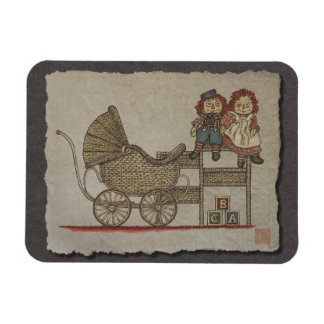 Raggedy Doll Baby Buggy Rectangle Magnets