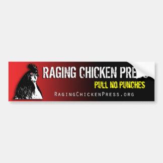 Raging Chicken Pull No Punches Bumper Sticker