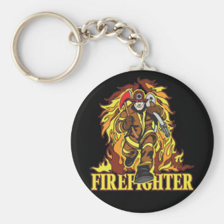 Raging Flames Firefighter Key Ring