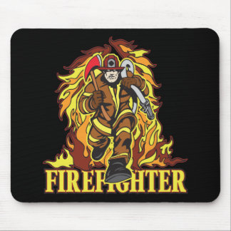 Raging Flames Firefighter Mouse Pad