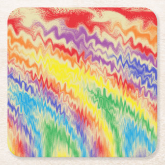 Raging Rainbow Fire Lines Square Paper Coaster