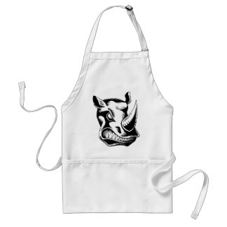 RAGING RHINO TATTOO TRIBAL VECTOR GRAPHIC STANDARD APRON