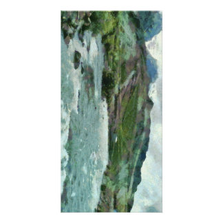 Raging water streams in the hills customized photo card