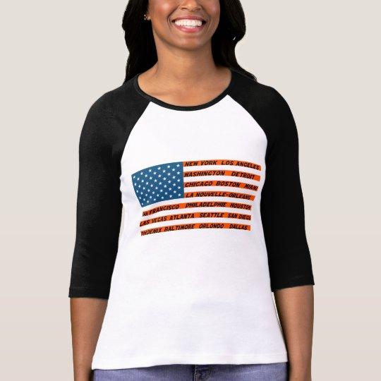 Raglan with handles 3/4 woman, the Orange Flag USA T-Shirt