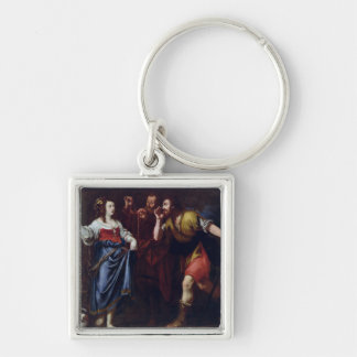 Rahab and the Emissaries of Joshua Silver-Colored Square Key Ring