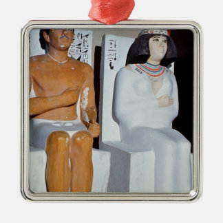 Rahotep and his Wife, Nofret, from Meydum Silver-Colored Square Decoration