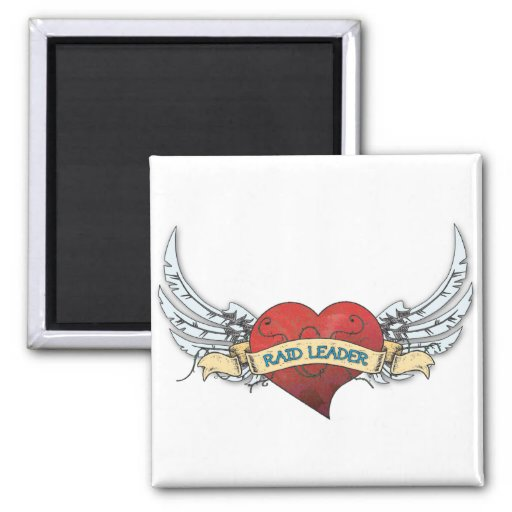 RAID LEADER Tattoo - Heart and Wings Magnets