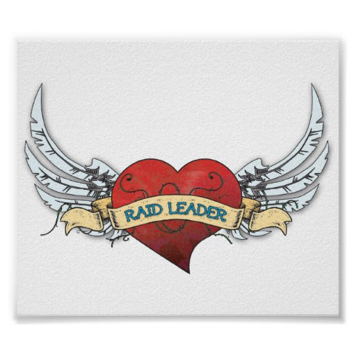 RAID LEADER Tattoo - Heart and Wings Posters