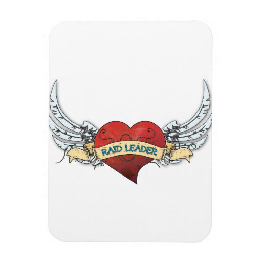 RAID LEADER Tattoo - Heart and Wings Rectangular Magnets