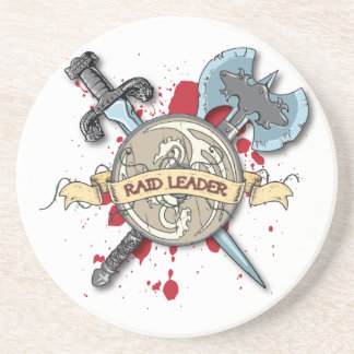 RAID LEADER Tattoo - Sword, Axe, and Shield Coaster