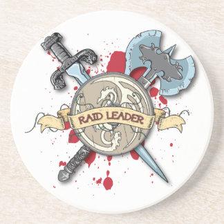 RAID LEADER Tattoo - Sword, Axe, and Shield Drink Coaster