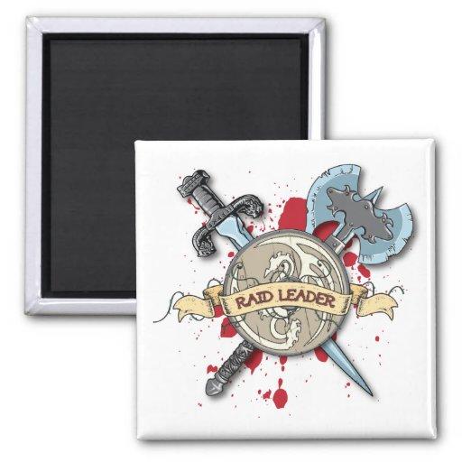 RAID LEADER Tattoo - Sword, Axe, and Shield Fridge Magnet