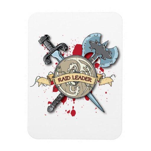 RAID LEADER Tattoo - Sword, Axe, and Shield Magnet