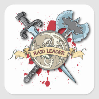 RAID LEADER Tattoo - Sword, Axe, and Shield Sticker