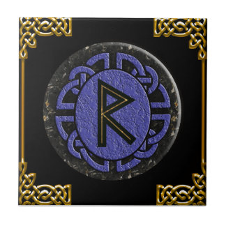 """raidho"" elder futhark small square tile"