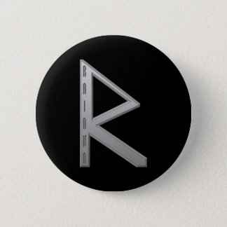 Raidho Rune grey 6 Cm Round Badge
