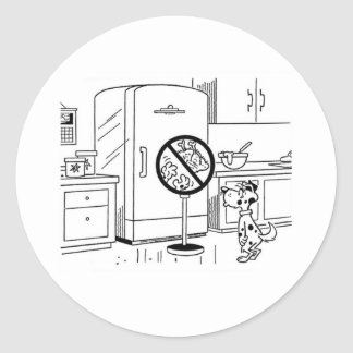 Raiding Refrig Cartoon Round Sticker