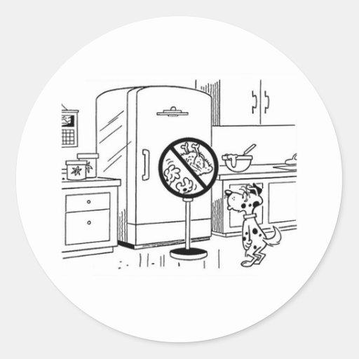 Raiding Refrig Cartoon Round Sticker