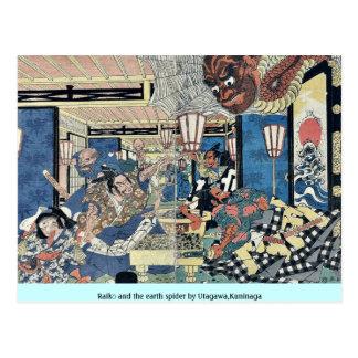 Raikō and the earth spider by Utagawa,Kuninaga Postcard