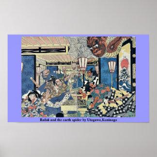 Raikō and the earth spider by Utagawa,Kuninaga Poster