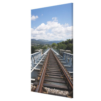 Rail Tracks On Top Of Eiffel Bridge Canvas Print