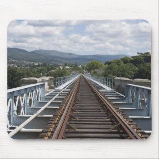 Rail Tracks On Top Of Eiffel Bridge Mouse Pad